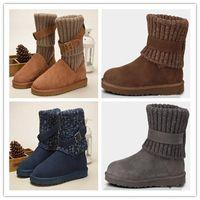 botas de invierno de cuero marrón para niñas al por mayor-Venta al por mayor Mujeres WGG Australia Botas clásicas chica triple negro azul Marrón botas de color caqui Botas de nieve botas de invierno zapatos de cuero al aire libre tamaño 35-40