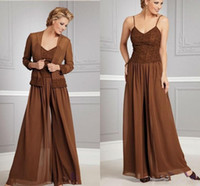Wholesale Gold Coffee Beads - 2015 Fashion Coffee Chiffon Mothers Dresses Pants Suits With Jacket Long Sleeves Mother of the Bride Spagetti Mother of the Bride Dress