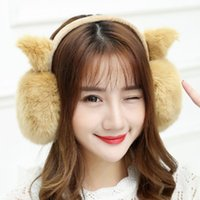 Barato Orelha De Dobra Aquecida-New Fashion Ear Warm Winter Folding Hair Cute Cat Earmuffs Mulheres Oversized Ear Bag Multicolor 8 cores