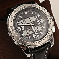 Wholesale Brand New Led - New Luxury Brand Men Watches Chronometre Quartz Digital Led Watch Mens Classic Two Tone Wristwatch Black Dial Leather Strap Original Clasp