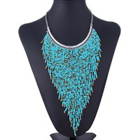 Gros-2015 New Fashion Layered Bohemian Or NecklaceTassels Vintage Chain Choker Bib Neon Colliers Pendentifs bijoux des femmes