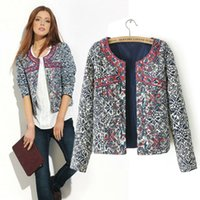Wholesale Cool Winter Jackets Women - Wholesale-New Arrival Cool Casual Black Full Sleeves Print Winter Woman Jacket Embroidery Plus Size Hot Sale Elastic Club Chaqueta C8997