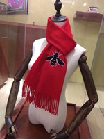 Wholesale New Style Design For Scarves - 30*180cm 2017 new fashion bead bee pattern design style scarves for women luxury cashmere autumn winter warm scarf