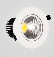Wholesale led glass downlight price resale online - Factory price Cob Led Ceiling Downlight w Warm white White Cold White Dimmable Recessed Led Down Light led driver