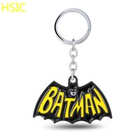Wholesale Key Chains For Cars - HSIC 6pcs lot Superhero Batman Keychain Metal Alloy Key Rings For Gift Chaveiro Key Chain Jewelry for Cars 6.5*4cm