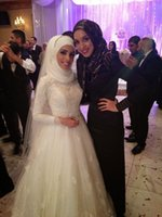 Wholesale Islamic Wedding Dresses Gown - 2015 Wedding Dresses A line Vintage Arabic Islamic Muslim With Long Sleeves Lace Appliques High Neck Mideast Bridal Gowns