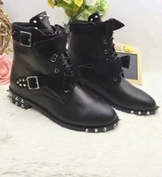 Wholesale Womens Fashion Winter Boots - Brand Fashion Lace Up Bowknot Womens Martin Boots,3CM Heel Rivet Buckles Female Motorcycle Boot,Black Cow Leather Winter Boots Plus Size 42