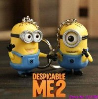 Wholesale Pcs Dolls Despicable - Cartoon Despicable Me 3D Eye Small Minions Anime Doll PVC Action Figure classic Kid toys Key Chains Free Shipping (2 pcs set)