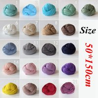 Wholesale newborn cocoon - Newborn Baby Stretch Wrap Cocoon Photo Photography Prop 50*150cm Cotton Hemp Swaddling Throw Bed Wrap OOA3660