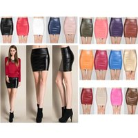 Wholesale Short Red Leather Skirt - 22 Colors New Women Sexy Faux Leather Thicken PU Split Zip Line Front Party Short Mini Skirt High Waist