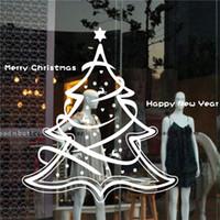 weihnachten vinyl fenster dekorationen großhandel-Frohe Weihnachten Baum New Year Stores Glas Fenster Ornament Aufkleber Home Decorations Vinyl diy Wandaufkleber 58 * 60cm / 22.8 * 23.6in