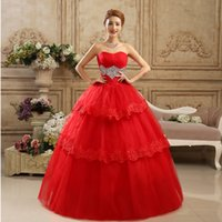 Wholesale Korean Wedding Dresses Red - Spring and Summer 2015 Hot red bride Wedding Dress Hot Sale Sweetange Korean Style Sweet Romantic Lace Princess rhinestones Wedding Dress