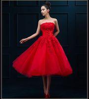 Wholesale Banquet Tea - Robe De Soire Evening Dress 2016 New Arrival Red Lace Strapless The Bride Marrige Banquet Elegant Short Tea-length Party Formal Prom Gown