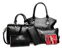 Wholesale Aligator Crocodile - 6Pcs set Women Composite Bag New Arrival Crocodile Grain Women Totes Sheel Type Embossing Women Aligator Handbag