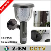 Wholesale Surveillance Cctv Dvr Card - New Solar DVR Security Camera With 16GB SD Card PIR Motion Detection Video Recording 39 White LED Waterproof CCTV Surveillance