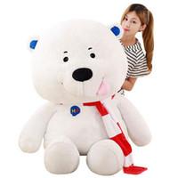 Wholesale Polar Stuff - 120cm Huge Pop Soft Cartoon White Bear Plush Toy Stuffed Anime latest Polar Bear Pillow Doll Kids and Adult Gift 47inches