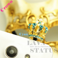 Wholesale Big Dust Plug - Wholesale-Golden Plated Cell Phone Accessories Jewelry Crystal 4Colors Big Crown Charms Cute Phone Anti Dust Plug Cap For Iphone4 4S 3.5mm