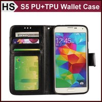 Wholesale Stand Holder Pouch Case - Drop Shipping Wallet Photo Frame Leather Case For GALAXY S5 & Soft TPU Cover and Card Slot Holder Stand Flip Cover