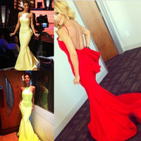 Wholesale Neon Pink Evening Dress - Bodycon Sexy Evening Dresses Long Backless Open Back Special Occasion Neon Green Dresses Evening Wear Mermaid Prom Bridesmaid Dress Gown