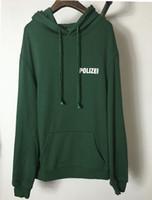 hombres de la calle urbana al por mayor-Otoño invierno sudadera de gran tamaño Polizei verde 16ss con capucha bordada con letras hombres mujeres Hiphop Hoodies Streetwear Ropa urbana