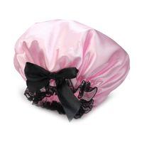 Wholesale Universal Ribbon - Wholesale- Pink Ribbon Waterproof Shower Caps Elastic Band Lace Bow Hat Hair Bath Shower Bouffant Cap for Women Men