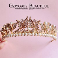 Wholesale Tiara Diamond Wedding Dress - The new 2016 vintage gold leaf crown princess hair diamond pearl headdress baroque bride wedding dress accessories