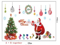 Plastic outdoor window christmas decorations - 120pcs Fashion Christmas Santa Claus tree Wall Sticker windows cabinet PVC decoration stickers