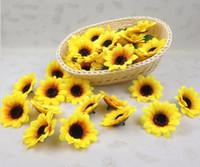"Wholesale Sunflower Wedding Decorations - 100pcs 2.8"" Sunflower Buds Artificial Silk Flower Heads For Wedding Home Bridal Bouquet Decoration"