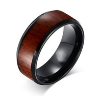 Wholesale wood inlay rings - 8mm Fashion Mens Tungsten Carbide Wedding Rings with Wood Inlay Engagement Rings Free Engraving