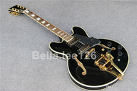 Wholesale Black Classical Guitars - Hot selling music instrument,classical black color hollow body jumbo jazz 335 electric guitars ,factory OEM handmade guitar