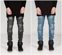 Wholesale Blue Denim Skinny Jeans - 1603 2015 Mens Biker Jeans Motorcycle Slim Fit Washed Black Grey Blue Moto Denim skinny Pants Joggers For Skinny Men