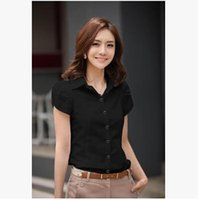Wholesale New Lapel Shirt Chiffon - vetement femme new women short-sleeve black white shirts women's professional formal big size tees cotton slim OL tops