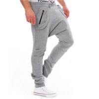 Wholesale Men Pants Laces - Wholesale-Pocket Zipper Design Sport Hip Hop Trousers sweatpants Narrow Feet Slimming Trendy Lace-Up Polyester Low-Crotch Pants For Men