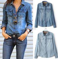 Wholesale Women Blouse Squares - Hot New Retro Fashion Women Casual Blue Jean Denim Long Sleeve Shirt Tops Blouse Jacket