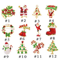 Wholesale snowman bells - 12 models Xmas Gift Christmas brooch pins alloy Christmas tree snowman Santa Claus jingle bells brooch charm jewelry for kids gift 170193