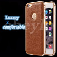 Wholesale One Piece Phone Cover - Phone Case For iPhone 6 6 Plus Original Metal Soft TPU One-piece Forming Frames and Leather Back Cover Bumper Shell iPhone Cases
