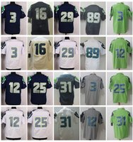 Uomo 3 Russell Wilson 12 ° Fan 16 Tyler Lockett 25 Richard Sherman 31 Kam Chancellor 29 Earl Thomas 89 Doug Baldwin Stitched Jersey College
