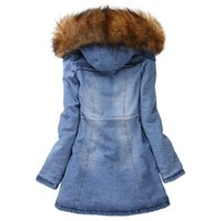 Wholesale Denim Jackets Hoodie Women - Wholesale-New Womens Denim Oversized Hoodie Hooded Blue Outerwear Winter Jean Jacket Fur Collar 2015 New Long Denim Women Coat with Hat