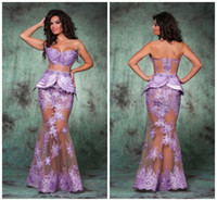 Wholesale Hot Seen Sexy - Mermaid Lace See Through Evening Dresses Sweetheart Floor Length Tulle Tulle Arabic Romania Evening Gowns Sexy Hot Prom Dresses AR0011