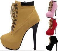 plattform schnüren sich an knöchel booties großhandel-Sexy Frauen Plattform Schnürschuh High Heel Ankle Boot Booties Stiletto Heels Mandel Toe Schuhe Größe 35 bis 40