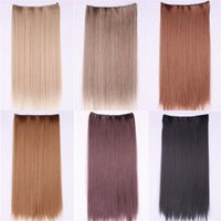 Wholesale Extension Dark Brown Long - women's hair pieces 6 Color female synthetic hair extensions clip in extensions dark brown Long Straight braiding hair extension