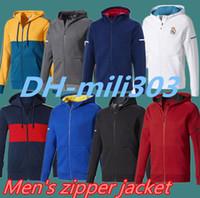 Wholesale White Army Jacket - new2018 real madrid soccer jersey jackets 17 18 ajax RONALDO ROBBEN VIDAL LEWANDOWSKI DYBALA HIGUAIN MARCHISIO ac milan Zipper Hooded jacket