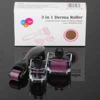 Wholesale Skincare Acne - Micro Derma Roller Facial Skincare Dermatology Therapy System for Acne Scars, Wrinkles, Blemish and Blackheads 3 in 1 dermaroller kits