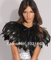 Wholesale Evening Stoles Wraps Shrugs - 100 % real image Evening Dresses Cape Stole Feather Wraps Shrug Bolero Coats Shawl Scarf for Women Formal