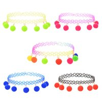 Wholesale Cashmere Jewelry - European and American style women's personality five colors chokers necklaces Cashmere plush ball pendant necklaces jewelry accessories