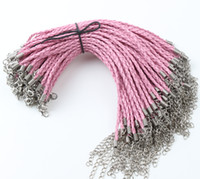 Wholesale Wholesale Pink Leather Charm Bracelet - 100pcs lot New Pink Leather Braided Charm Chain Bracelets For Bead lobster Clasp Chains Jewelry DIY