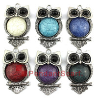 Wholesale Mixed Scarf Pendant Jewelry - Fashion Design DIY Necklace Pendant Scarf Jewelry Big Color Resin Metal Cute Owl Charm Scarf Pendant 6 Colors Mixed, Free Shipping, AC0352