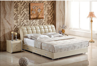 Wholesale GENUINE LEATHER BED ELEGANT STYLE LIGHT YELLOW DOUBLE PERSON FASION MODERN GOOD QUALITY cm A31D