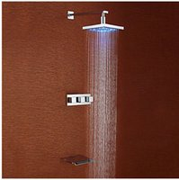 """Wholesale Led Waterfall Tub Faucets - 12"""" Brass Showerhead Bathroom Shower Set LED Tub Waterfall Tap Chrome Brass Water Tap Faucet Mixer Cock"""