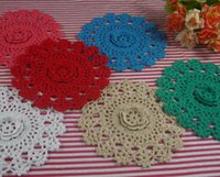 handgefertigte häkeltücher groihandel-handgemachte gehäkelte Deckchen Vintage 3D Blume, Spitze häkeln Deckchen Tasse Matte Vase Untersetzer Mat 15cm / 6